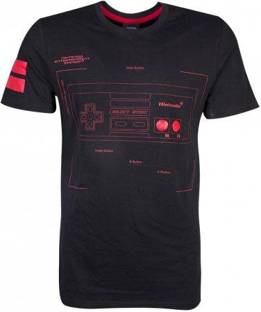 Nintendo Kontroll Diagram T-Shirt Svart (X-Large)