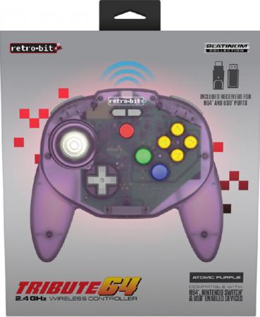 Retro-bit Tribute64 2.4 GHz Wireless Controller - Atomic Purple